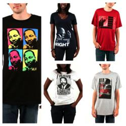 Various Martin Luther King Jr. t-shirts available at Zion Rootswear
