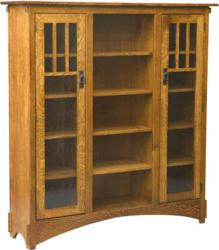 The Mission Display Bookcase with Seedy Glass features durable craftsmanship.