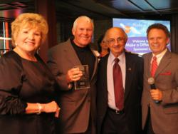 Shown here: Lana Duke (co-chair), Balous Miller (honoree), Harvey Najim (co-chair), and MC Sonny Melendrez