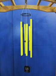 Hand tuned wind chimes with bright yellow tubing