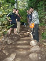 Crew members of the Maine Appalachian Train Club installed stone steps and addressed erosion control on East Baldpate Mountain in Maine. Photo by  LC Kenway.