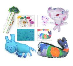 Stuffed toys custom made from kids' drawings