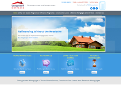The website for Georgetown Mortgage, a home loans provider for Texas that now offers Texas reverse mortgages.