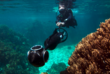 Catlin Seaview Survey scientist taking 360-degree panoramic images of the Great Barrier Reef