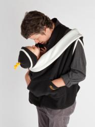 Father kissing baby penguin-style in a Kowalli Baby Carrier Cover