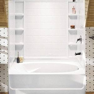 Perfect Ensemble Tiled Shower Tub With Shelving From Sterling ...