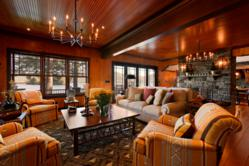 Adirondack style living room exemplifying the successful use of color and light.