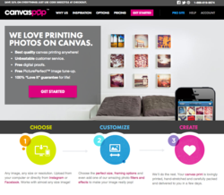 CanvasPop new website design showcasing quality canvas prints
