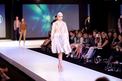 Carole McClellan showing her line at the Independent Designer Runway Show