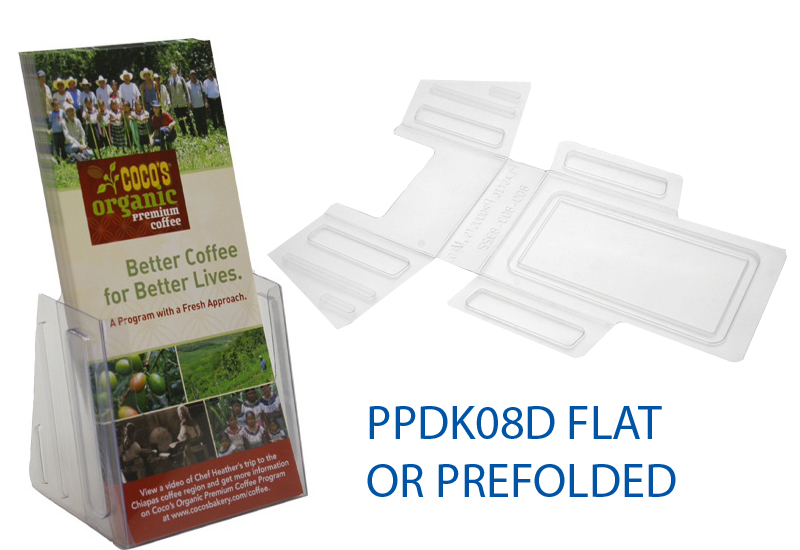 Brochure holder economy tri flat is plastic products for Paper brochure holder template