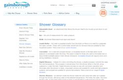Shower Glossary