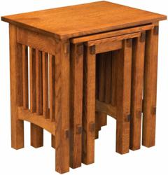 A spacious design marks the Deluxe Mission Nesting Table Set.