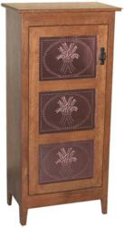 Each jelly cabinet features classic wood construction.