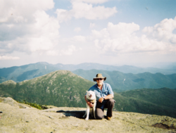 "Tim Emerson and ""Shanti"" in the heart of the Adirondack High Peaks wilderness"