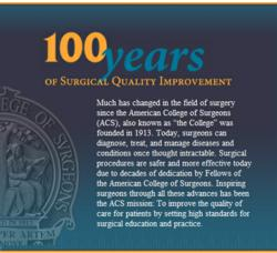 100 years of Surgical Care Timeline