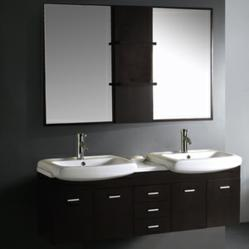 Vigo VG09001104K - 59-Inch Double Bathroom Vanity With Mirrors And Shelves