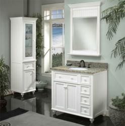 A selection of white bathroom vanities by sagehill designs for New england style bathroom ideas