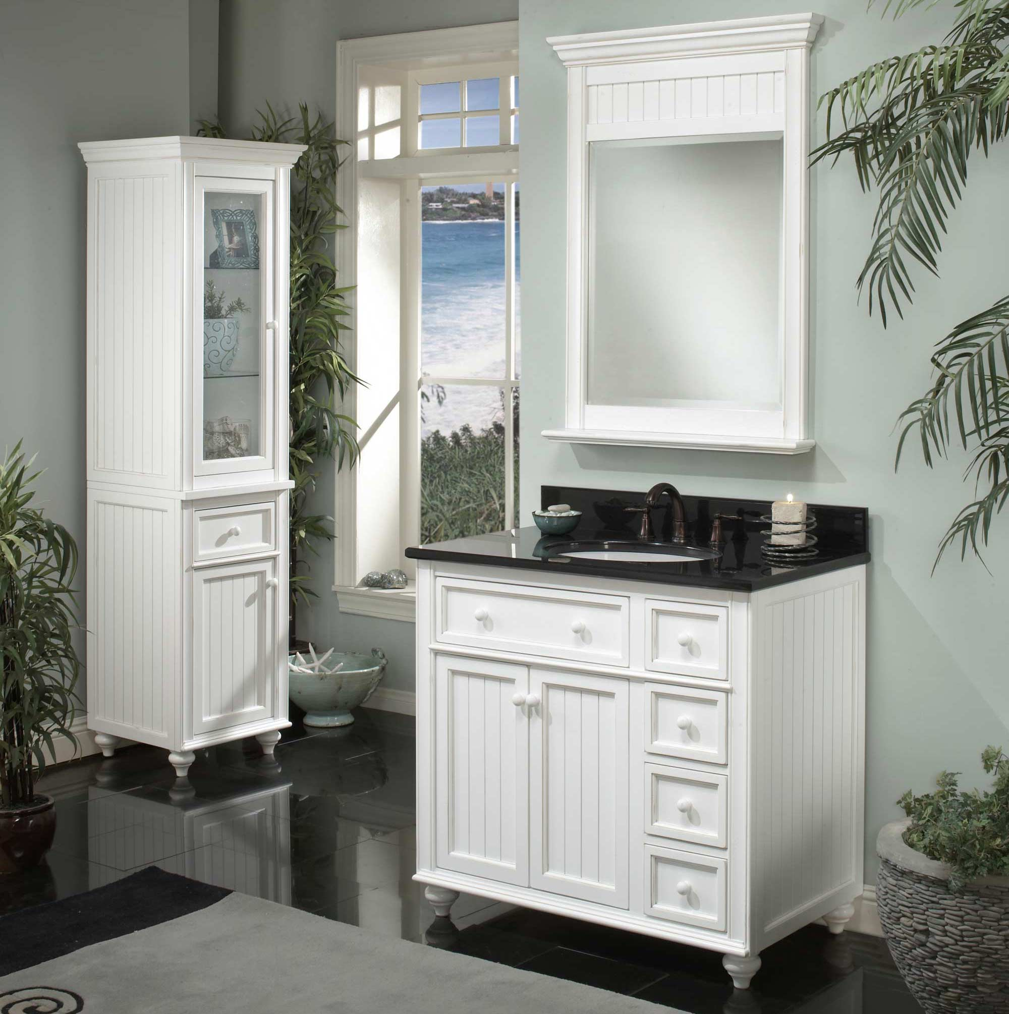 sagehill 39 s cottage retreat bathroom vanity with a black granite top - Bathroom Cabinet Ideas Design