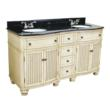 "Hardware Resources VAN028D-60E - Compton Buttercream Cottage 60"" Double Bathroom Vanity With Preassembled Top And Bowl By Bath Elements."