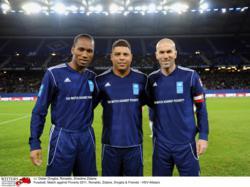 UNDP Goodwill Ambassadors Ronaldo, Zinidine Zidane and Didier Drogba at the 2011 Match Against Poverty in Hamburg, Germany.