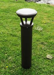 Reliance Foundry's new model R-9810 Solar-Powered Lighting Bollard is displayed on a grass pathway.