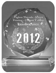 Tagless Threads wins best of Vista Award for Screen Printing