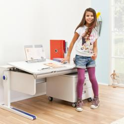 Cleverly designed, the Moll Champion Adjustable Desk features a unique, child-friendly yo-yo pulley system to raise and lower the desk height.