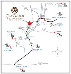 Ojo Caliente Map to Ski Resorts
