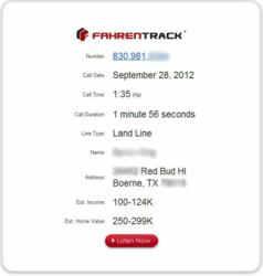 Sample report for Fahrenheit Marketing's conversion-management and call-tracking system, FahrenTrack.