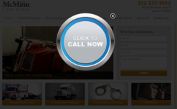 The call now button on the website for Austin personal injury law firm, the McMinn Law Firm