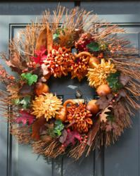 This is a Business Thanksgiving Greeting Card with an image of a Fall Wreath on a Door.