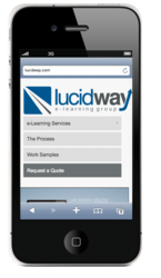 Picture of an iPhone with the Lucid Way website on the phone.