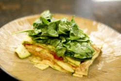 Garden Lasagna, one of the many types of raw food served at Maggie's Raw Love Café in Rockville Centre, Long Island, NY.