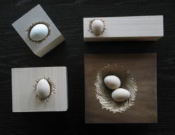 Wooden nests by mixed media artist Karin Carter