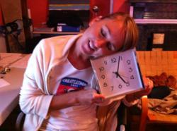 Sarah Teichert, Designer checks the clock still going at 5am