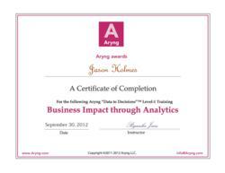 Aryng Analytics Training Certificate