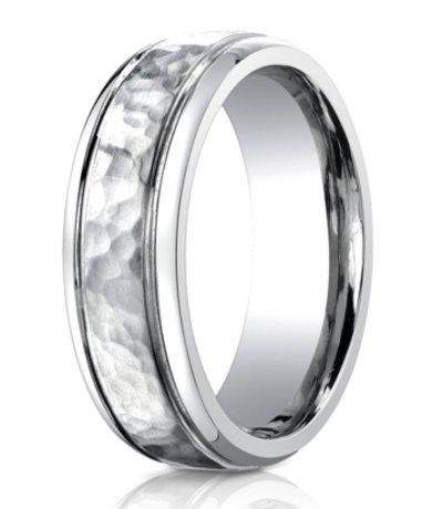 designer cobalt chrome mens wedding ring with hammered center