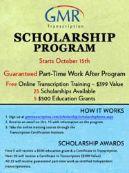 Deadline for GMR Transcription's College Scholarship Program is October 15, 2012