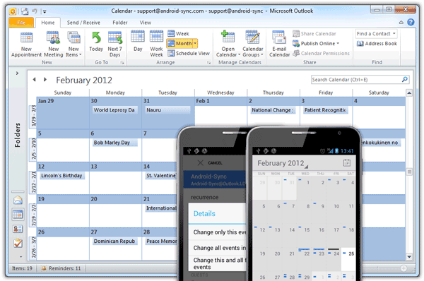 Android-Sync syncs Outlook calendars with Android native calendar app