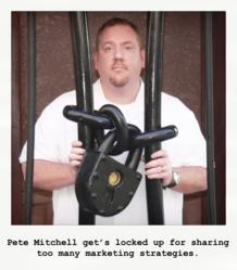 Pete Mitchell get's locked up after sharing too many marketing strategies.