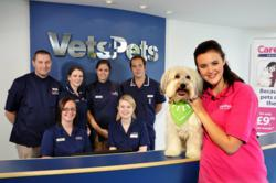 Ashleigh &amp; Pudsey with the Vets4Pets team