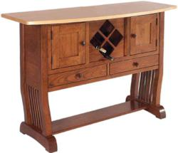 A beautiful two-tone design marks the Royal Mission Wine Rack Sideboard.