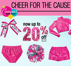 20% off pink cheerleading gear from Campus Teamwear