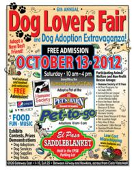 The Sixth Annual Dog Adoption Fair and Dog Adoption Extravaganza is Saturday Oct 13th, 2012 from 10 AM to 4 PM at El Paso Saddleblanket World Headquarters, 6926 Gateway East, El Paso, Texas.