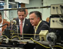 Jim D'Addario shows Governor Cuomo String-Making Machines