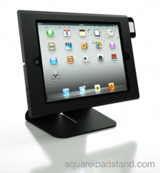 A black enclosure and flip stand for Square