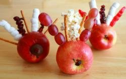 Healthy classroom snacks like Gobbling Turkey Apples are a fun way to celebrate the seasons and healthy eating.