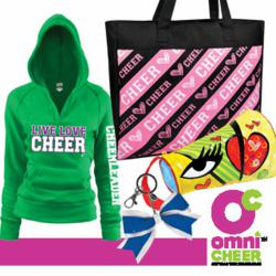 Omni Cheer cheerleading gift items include hoodies, bags and keychains.