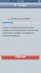 Unlistr scanning and unsubscribing from junk email on iPhone 5