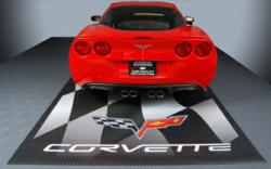 Checkerboard Flooring for the Garage with Corvette Logo